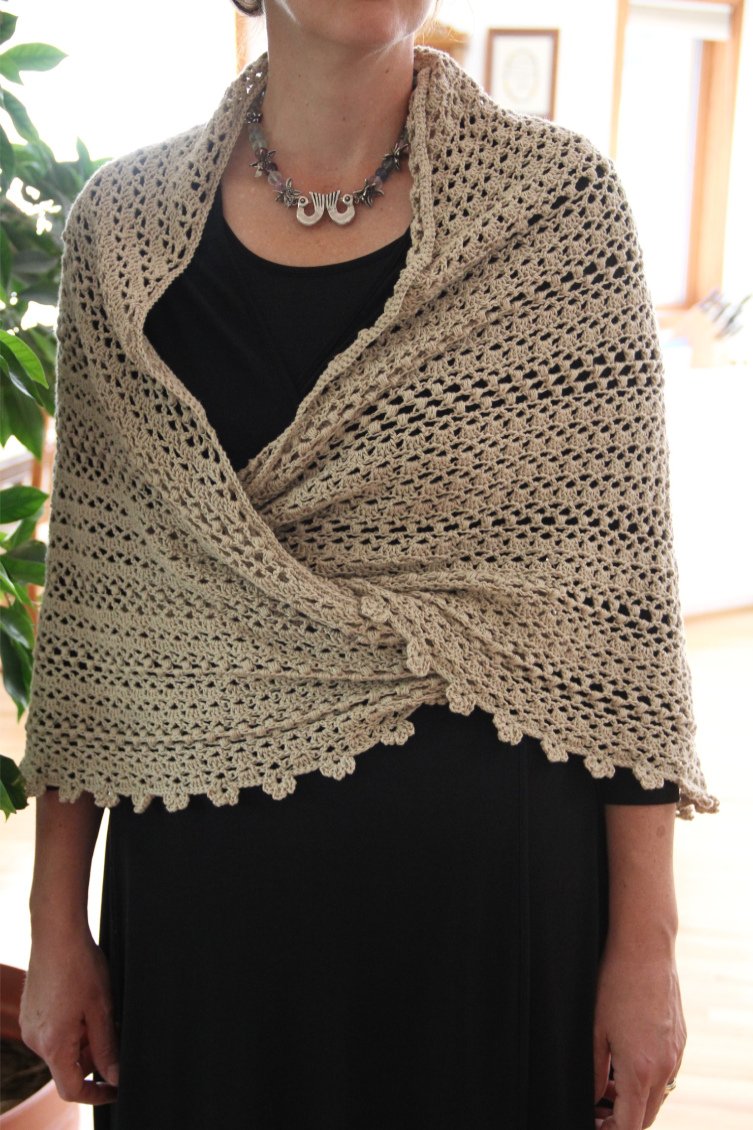 Free Crochet Shawl Pattern Worked In A Basic Trellis Pattern Pictures ...